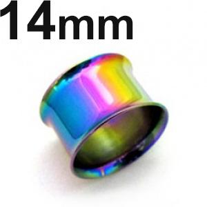 永遠の定番モデル レインボーニオビウムをコートしたWフレヤーイヤレット 直送商品 レインボーニオビウム ダブルフレヤー イヤーレット 14mm