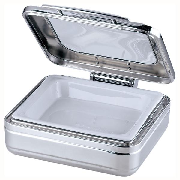 KINGO(キンゴー) 角チェーフィング 2/3サイズ J302-Tガラス蓋・陶器中皿 (NKV2201)