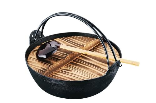 欠品中です。>五進 ジャンボ田舎鍋(鉄製) 39cm (杓子付) (QIN1339)