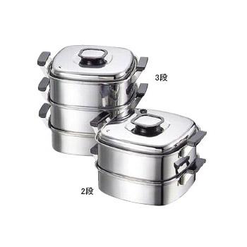 角蒸器3段 プレス式 18-0(ステンレス) モモ 24cm