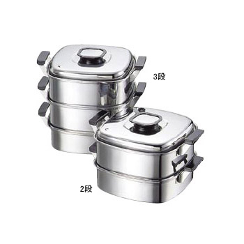 角蒸器3段 プレス式 18-0(ステンレス) モモ 27cm