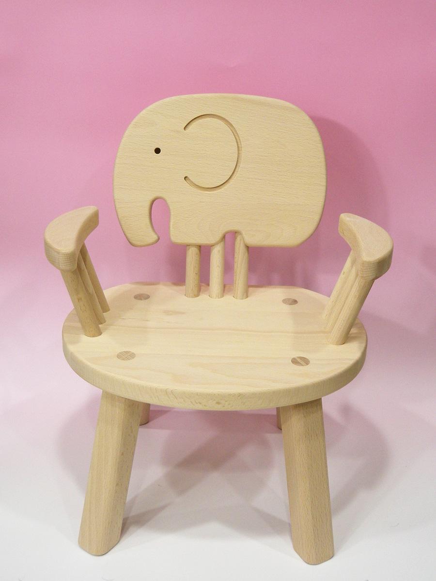木のおもちゃ 子供椅子ひじ掛付(ぞう)ゾウさん