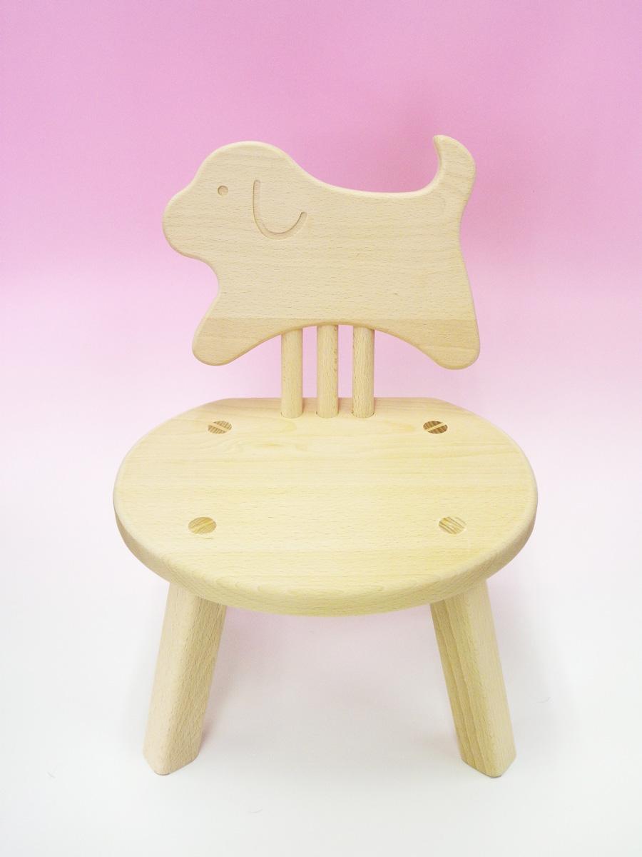 木のおもちゃ 子供椅子ひじ掛無(いぬ)犬ちゃん