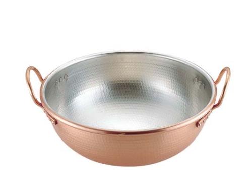 SA銅打出さわり鍋 手付・スズメッキ付き 42cm (WSW0205)