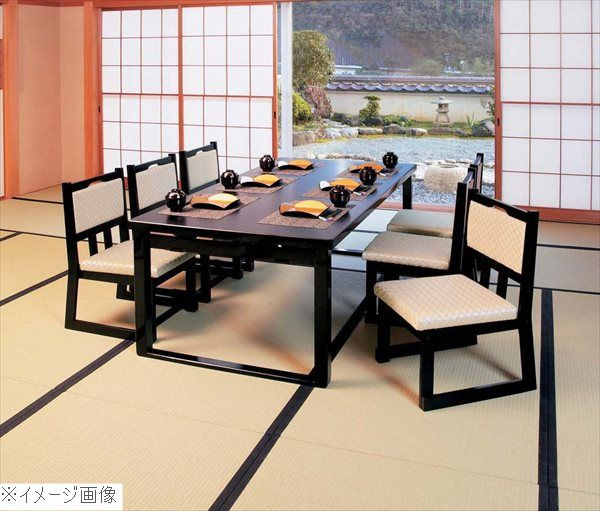木製テーブル座卓 8本脚・ずり脚 6人膳(H600/H325)黒木目 1800×900