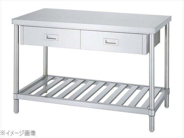 パイプ脚 作業台 スノコ棚 片面引出付 WDS-15075