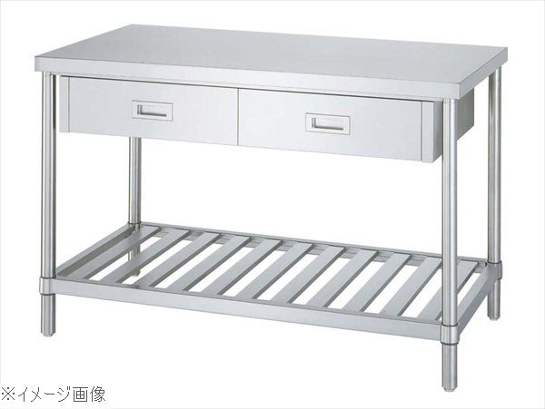 パイプ脚 作業台 スノコ棚 片面引出付 WDS-18075