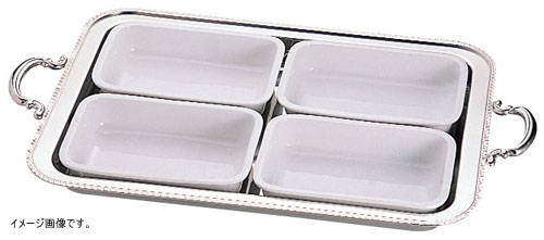 UK18-8 ユニット角湯煎用陶器セット 4分割(4枚組) 24インチ用