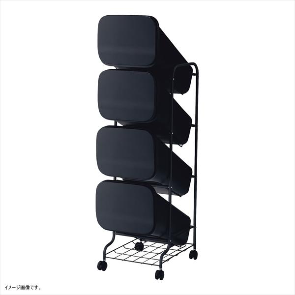 リス ゴミ箱 smooth スタンドダストボックス4P スリム 20L×4 ブラック