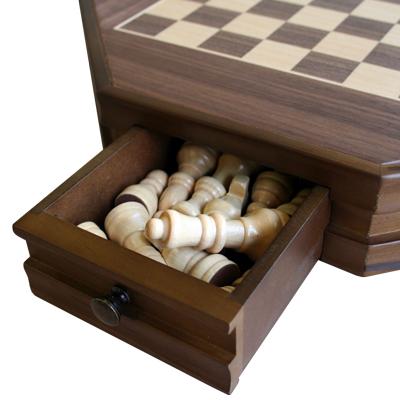 【引き出し付きの可愛らしいチェスセット】 CS29-12 木製八角形チェスセット