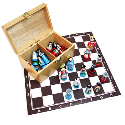※送料無料!※ハンドペイントチェス駒【8色】チェスボードシート付