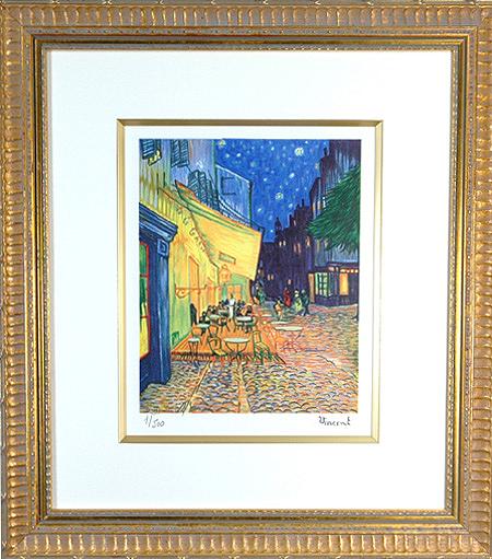 【パリの職人が再現するゴッホの筆使い】  リトグラフ版画 ゴッホ 「夜のカフェテラス」