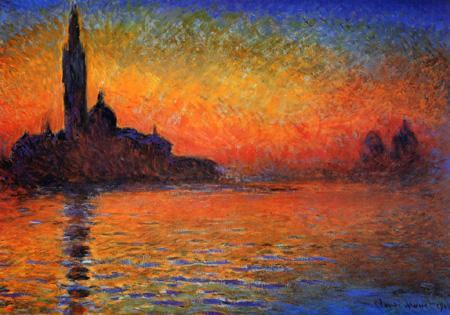 【燃える夕陽、幻想的な宵闇】モネ 「黄昏 ヴェネチア」