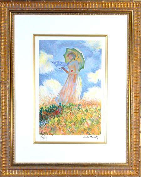 【パリの職人が再現する光の動き】 リトグラフ版画 モネ 「日傘を差す女」