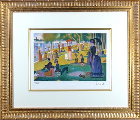 【パリの職人が再現する点描の美彩】 リトグラフ版画 スーラ 「グランジャット島の日曜の午後」