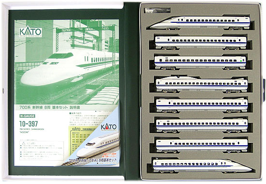 【中古】Nゲージ/KATO 10-397 700系新幹線「のぞみ」8両基本セット 2002年ロット【A'】外スリーブ傷み ブックケースに汚れあり
