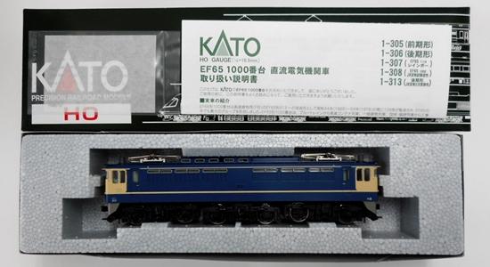 【中古】HOゲージ/KATO 1-305 EF65-1000番台(前期形) 2019年ロット【C】外箱若干の傷み 公式側屋根肩に傷みあり