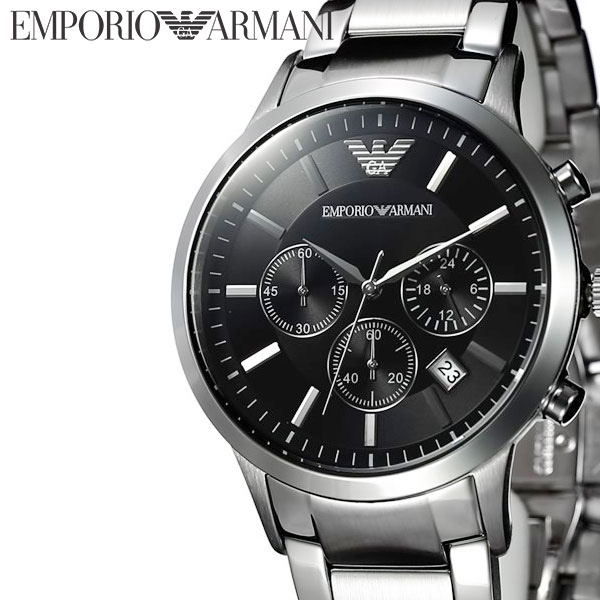 [当日出荷] エンポリオアルマーニ 腕時計 EMPORIO ARMANI 時計 アルマーニ メンズ ブラック AR2434 [ メンズ腕時計 腕時計メンズ ブランド ARMANI EA エンポリ ビジネス スーツ 社会人 男性 夫 旦那 彼氏 息子 おしゃれ メタル ] [ プレゼント ギフト ]