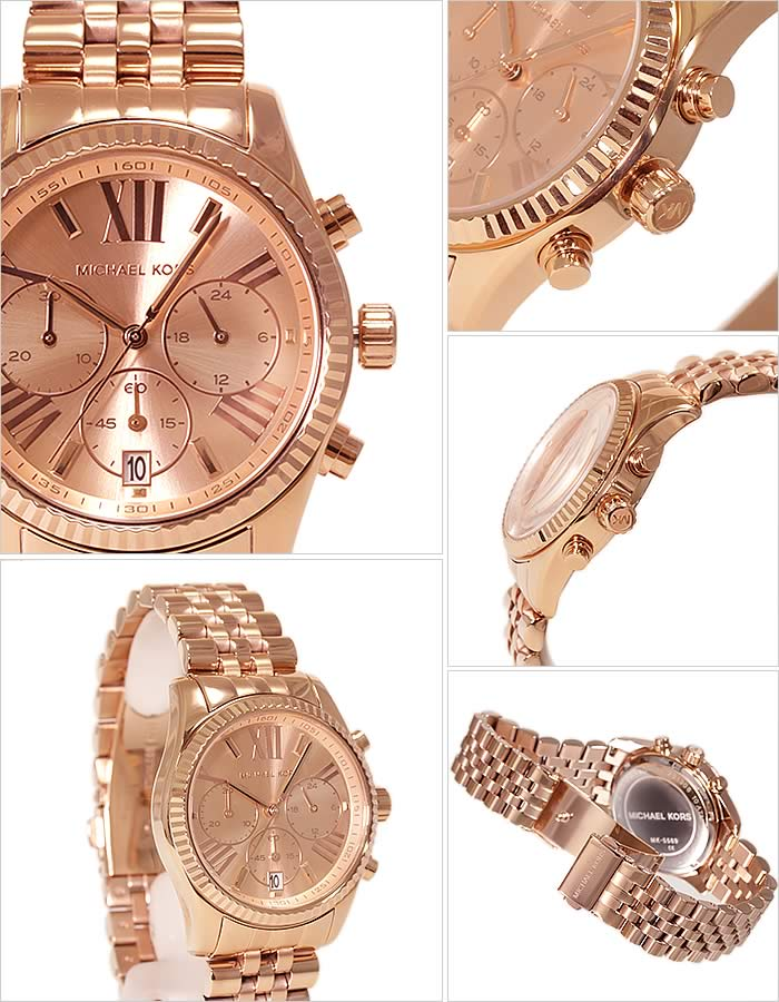 fec5ea731242 Michael Kors clock Lady s woman  MICHAEL KORS WATCH  watch pink gold MK5569   stylish overseas ブランドリティ clock Rose gold chronograph present gift