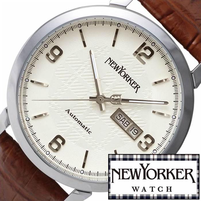 [2,464円引き][当日出荷] ニューヨーカー腕時計 NEWYORKER時計 自動巻き 腕時計 時計 機械式腕時計 機械式 NEW YORKER ニューヨーカー トラッドマン Tradman メンズ ホワイト NY002-02 タータンチェック トラッド ルイ15世 [ プレゼント ギフト 新生活 ]