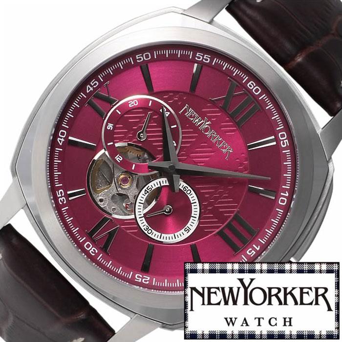 [2,992円引き][当日出荷] ニューヨーカー腕時計 NEWYORKER時計 自動巻き 腕時計 時計 機械式腕時計 機械式 NEW YORKER ニューヨーカー タイムパーソン Timeperson メンズ レッド NY003-08 オープンハート トラッド ルイ15世 [ プレゼント ギフト 新生活 ]