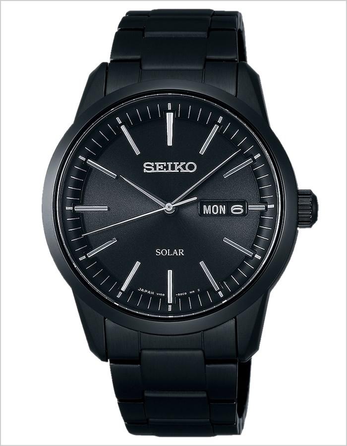 精工手表SEIKO钟表SEIKO手表精工钟表精神智能SPIRIT SMART人黑色SBPX065[模拟太阳能钟表全部黑色黑3针V158生活防水商务名牌]