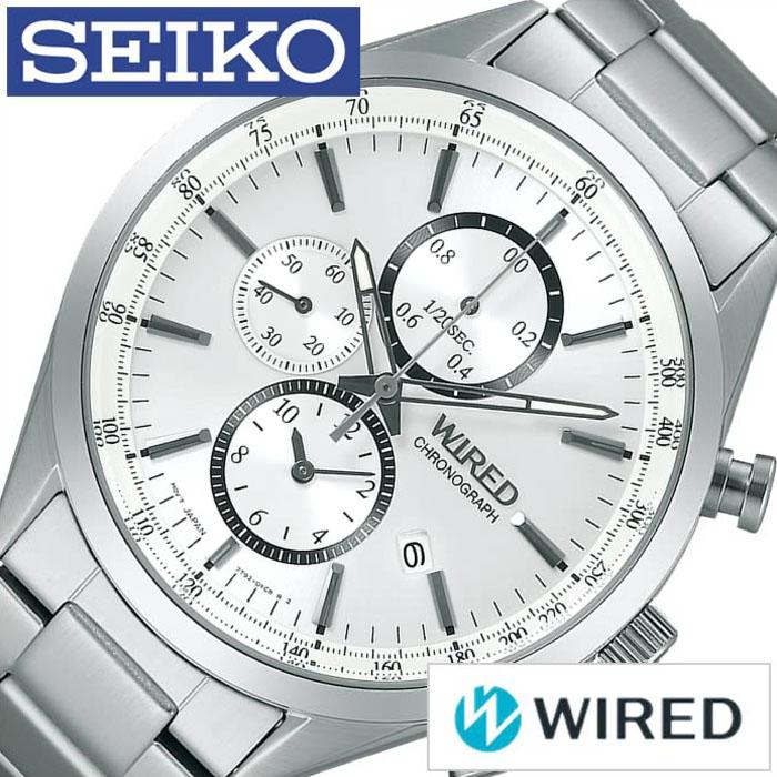 【5年保証対象】ワイアード腕時計 WIRED時計 WIRED 腕時計 ワイアード 時計 メンズ ホワイト シルバー AGAV108 アナログ クロノグラフ スタンダードクロノ クロノグラフモデル 銀 白 7針 7T92 プレゼント 祝い