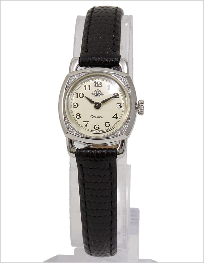 rozemon手表Rosemont钟表Rosemont手表rozemon钟表rozemon钟表雏形玫瑰Miniature Rose Series女士白RS-29-03BK[银子黑色银黑皮革皮带人气古董漂亮的罕见的瑞士名牌小,可爱]
