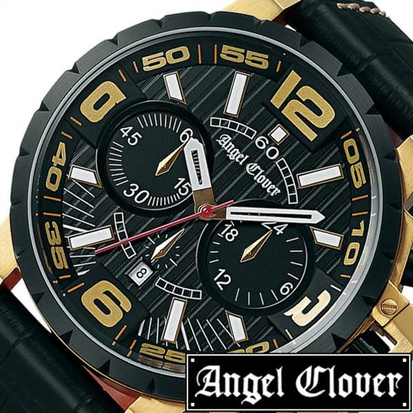 【延長保証対象】エンジェルクローバー 時計 AngelClover 時計 エンジェル クローバー 腕時計 Angel Clover 腕時計 エンジェルクローバー時計 AngelClover時計 エンジェルクローバー腕時計 タイムクラフト メンズ NTC48YBK-BK 革ベルト ゴールド 白