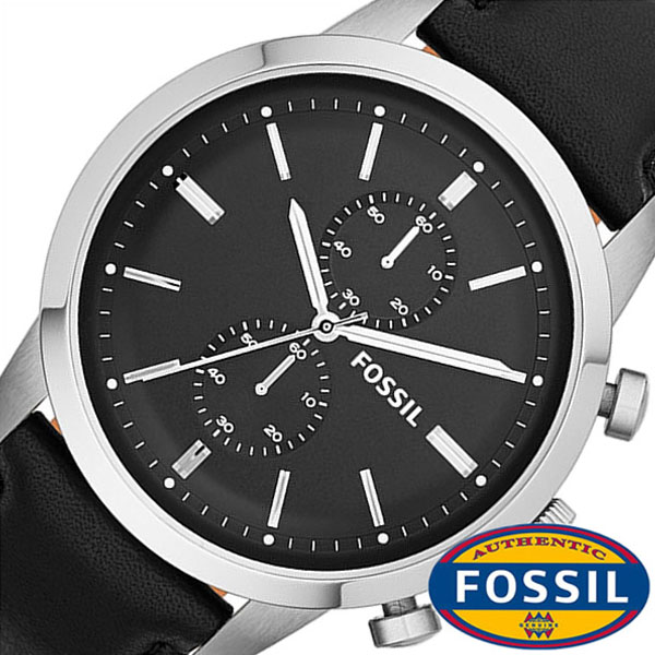 Fossil watch [FOSSIL watches] (FOSSIL watch fossil Watch) townsman  (TOWNSMAN) mens watch / black /FS4866 leather belt / Chrono graph / Black /  Silver