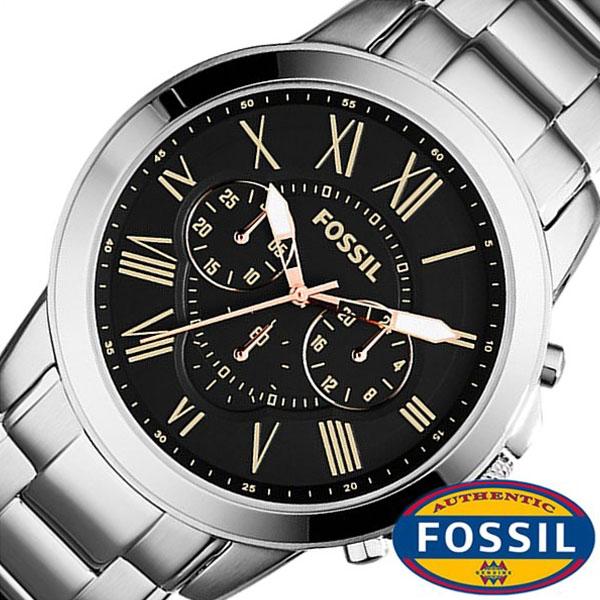 (2,570 yen discount) [15%OFF] フォッシル watch FOSSIL clock FOSSIL watch フォッシル  clock Grant GRANT men black FS4994 metal belt chronograph silver fashion