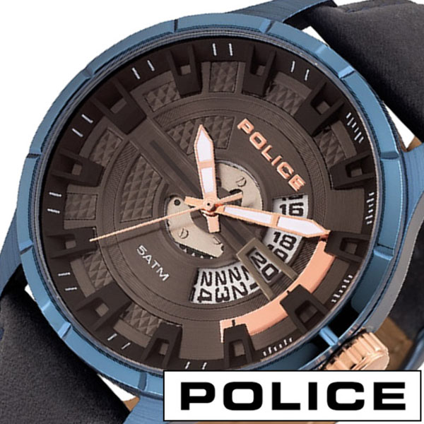 腕時計 ポリス レザー ネイビー メンズ POLICE COURTESY クォーツ リストウォッチ 本革 コーテシー 送料無料
