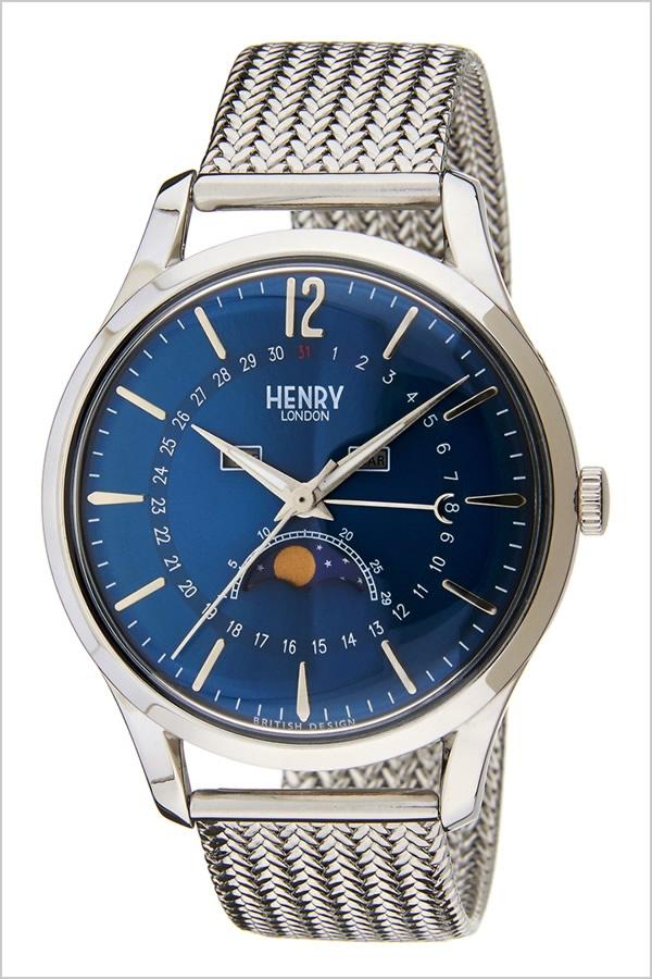 ヘンリーロンドン 腕時計 HENRYLONDON 時計 ヘンリー ロンドン 時計 HENRY LONDON 腕時計 ナイツブリッジ KNIGHTSBRIDGE メンズ レディース ブルー HL39-LM-0085 [ メッシュ ギフト プレゼント ブルー カレンダー 日付表示 ムーンフェイズ かわいい 腕時計 レディース ]