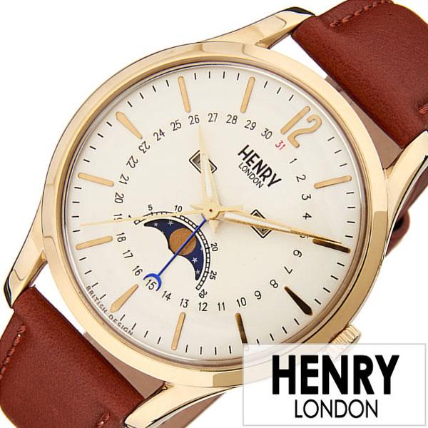 ヘンリーロンドン 腕時計 HENRYLONDON 時計 ヘンリー ロンドン 時計 HENRY LONDON 腕時計 ウエストミンスター WESTMINSTER メンズ レディース ホワイト HL39-LS-0148 [ レザー 革 ギフト ホワイト 日付表示 ムーンフェイズ かわいい 腕時計 レディース ]