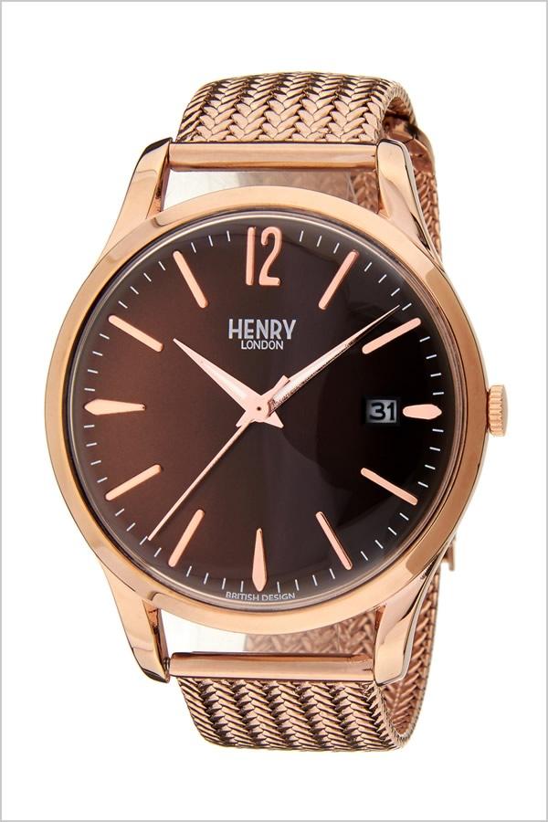 ヘンリーロンドン 腕時計 HENRYLONDON 時計 ヘンリー ロンドン 時計 HENRY LONDON 腕時計 ハーロウ HARROW メンズ レディース ブラウン HL39-M-0050 [ シンプル レトロ ヴィンテージ メッシュ ギフト プレゼント ブラウン ピンクゴールド 腕時計 レディース ]