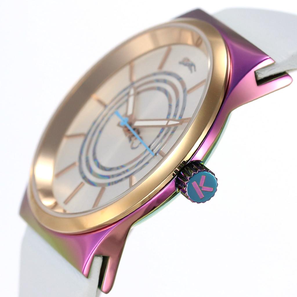 ケンゾー 腕時計 KENZO 時計 ケンゾー パリス 時計 KENZO PARIS 腕時計 メンズ レディース ホワイト K0042001 人気 モード ユニーク 個性的 レア 希少 海外 モデル タイガー ロゴ 虎 トラ レザー ベルト 革 オーロラ レインボー ピンクゴールド