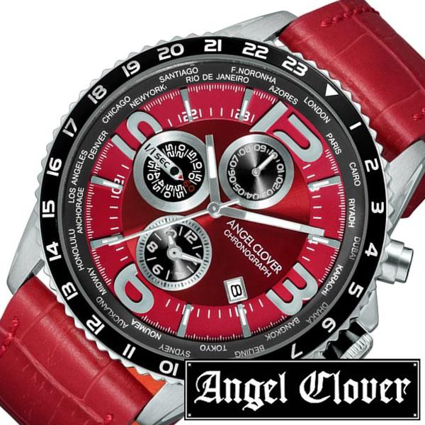 当日出荷エンジェルクローバー 腕時計 AngelClover 時計 エンジェル クローバー 時計 Angel Clover 腕時計 モンド MONDO メンズ レッド MO44SRE RE 正規品 ブランド クロノグラフ ワールド タイマー グローバル レザー 革 ラウンド CHGRWATプレゼント ギフトQCsrthd