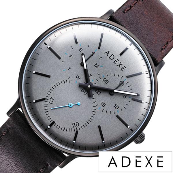アデクス 腕時計 ADEXE 時計 アデックス グランデ GRANDE メンズ グレー 2045C-03 [ 正規品 人気 ロンドン おしゃれ カジュアル ファッション トレンド ペア ペアウォッチ SNS シンプル クラシカル 革 レザー ダークブラウン プレゼント ギフト ]