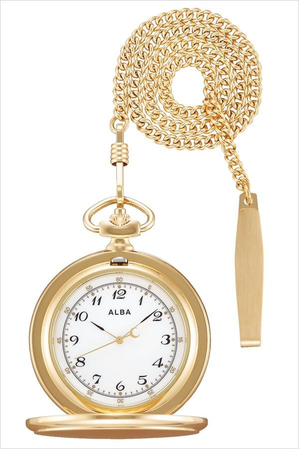 【5年保証対象】セイコー 懐中時計 SEIKO 時計 セイコー 時計 SEIKO 懐中時計 アルバ ポケット ウオッチ ALBA Pocket Watch ユニセックス メンズ レディース AQGK449 定番 懐中時計 レトロ アンティーク おしゃれ ファッション ラウンド 月 かわいい ゴールド