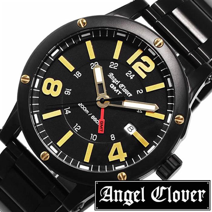 エンジェルクローバー 腕時計 AngelClover時計 Angel Clover 腕時計 エンジェル クローバー 時計 エクスベンチャーGMT ( EXVENTURE GMT ) メンズ ブラック EVG46BBK [ 正規品 タフ ワイルド GMT おしゃれ ビジネス イエロー ] [ プレゼント ギフト 新生活 ]