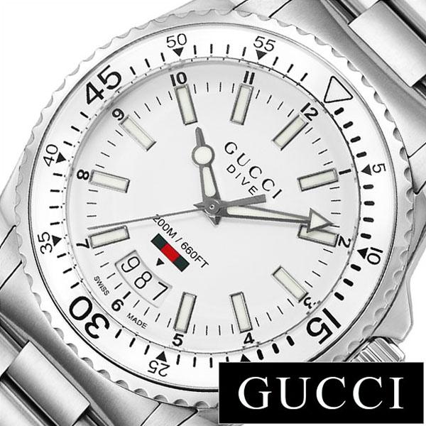 グッチ 腕時計 GUCCI 時計 グッチ 時計 GUCCI 腕時計 ダイヴ DIVE メンズ/ホワイト YA136302 [ 人気 イタリア ブランド 高級 メタル 防水 ダイバーズ ダイブ おすすめ ファッション ] [ 送料無料][ プレゼント ギフト ホワイトデー ]