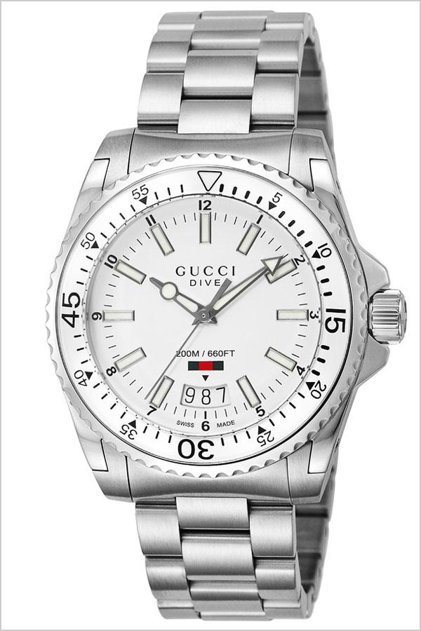 グッチ 腕時計 GUCCI 時計 グッチ 時計 GUCCI 腕時計 ダイヴ DIVE メンズ/ホワイト YA136302 [ 人気 イタリア ブランド 高級 メタル 防水 ダイバーズ ダイブ おすすめ ファッション ] [ ] [ プレゼント ギフト 新生活 ]