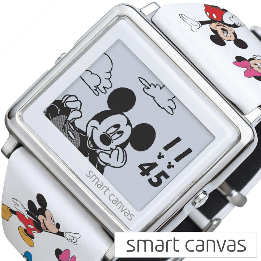 エプソン スマートキャンバス 腕時計 EPSON Smart Canvas 腕時計 エプソンスマートキャンバス 時計 ミッキーと仲間たち Mickey&Friends メンズ レディース W1-DY3045L [ デジタル アナログ ファッション おしゃれ アラーム キャラクター ディズニー Disney 革ベルト レザー ]