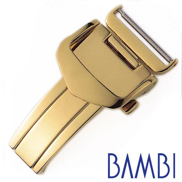 BAMBI Dバックル バンビ 腕時計用バックル 三つ折れプッシュ式 ベルト幅:16mm対応 ユニセックス メンズ レディース Dバックル ZG0007N [ 付け替え 簡単 ゴールド レザーベルト用 革ベルト バックル Dバックル 時計ベルト オシャレ ファッション ギフト プレゼント ]