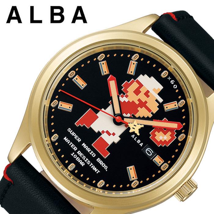 スーパーマリオコラボ 限定 セイコー SEIKO アルバ ALBA レトロマリオ ブラック ACCA701 [人気 ファミコン キャラクター カレンダー 自動巻き 自動巻 メンズ 時計 腕時計 ][ プレゼント ギフト 新春 2020 ]