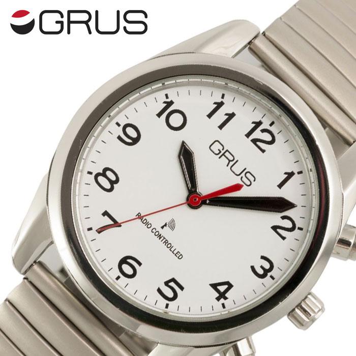 [当日出荷] グルス 腕時計 GRUS 時計 音声で時刻を知らせるボイス電波腕時計 ユニセックス メンズ レディース ホワイト GRS003-01 [ 人気 ブランド ボイス電波時計 ボイスウォッチ トーキングウォッチ 蛇腹 じゃばら 全盲 弱視者 盲目 視覚障がい者 プレゼント ギフト ] [ ]