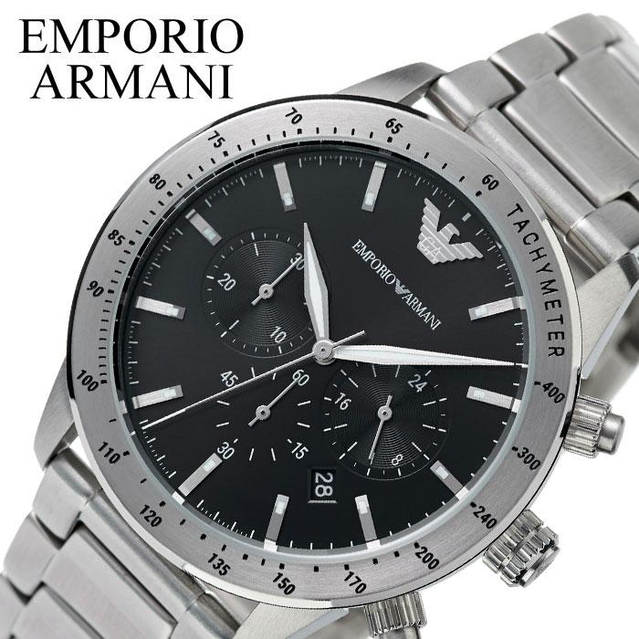 [当日出荷] エンポリオアルマーニ 腕時計 EMPORIOARMANI 時計 メンズ ブラック AR11241 [ 人気 ブランド アルマーニ エンポリ シンプル かっこいい 大人 仕事 スーツ ビジネス 営業 フォーマル クロノグラフ メタル ベルト 彼氏 社会人 プレゼント 記念日 誕生日 ]