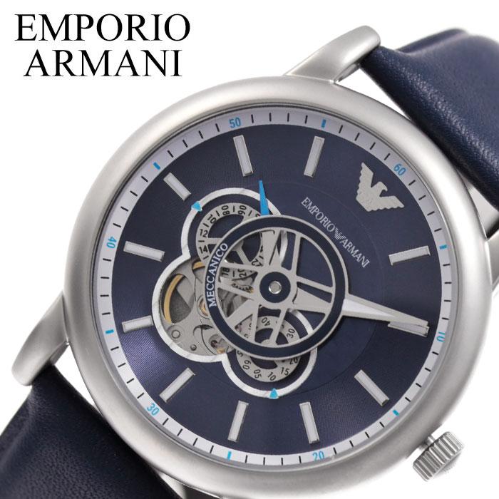 [3,781円引き][当日出荷] EMPORIO ARMANI 腕時計 エンポリオ アルマーニ 時計 メカニコ Meccanico メンズ 腕時計 ブルー AR60011 [ 人気 ブランド ファッション おしゃれ カジュアル フォーマル スーツ ビジネス 自動巻 機械式 スケルトン プレゼント ギフト ]