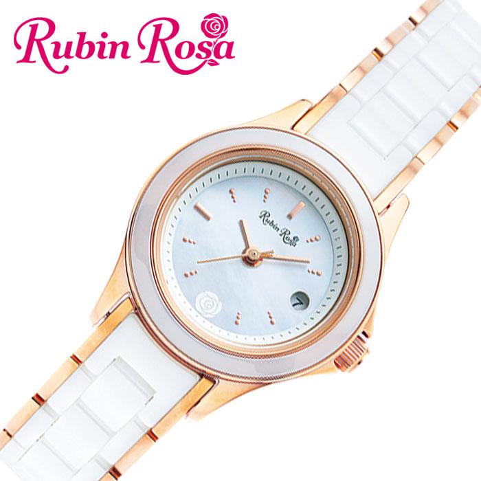 [当日出荷] ルビンローザ 腕時計 RubinRosa 時計 レディース ホワイト R310PWHMOP [ 人気 ブランド おしゃれ ファッション カジュアル かわいい ミニマル カレンダー ソーラー プレゼント ギフト ]