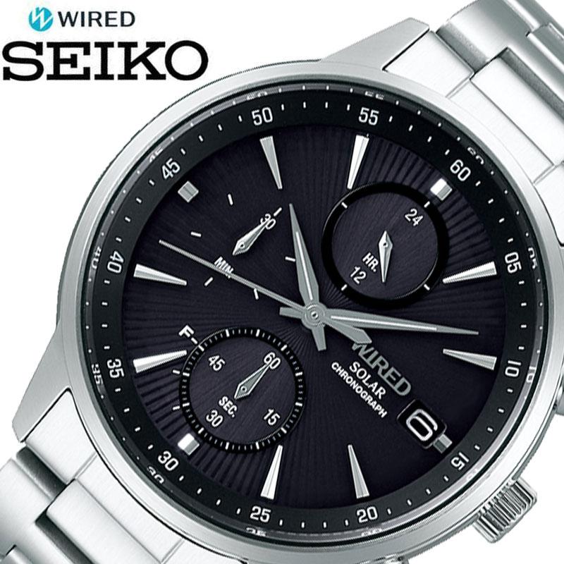 SEIKO 腕時計 セイコー 時計 ワイアード WIRED メンズ ブラック AGAD408 [ 人気 ブランド おすすめ おしゃれ かっこいい ブラック シルバー メタル ソーラー 大人 ビジネス 誕生日 プレゼント ギフト ]